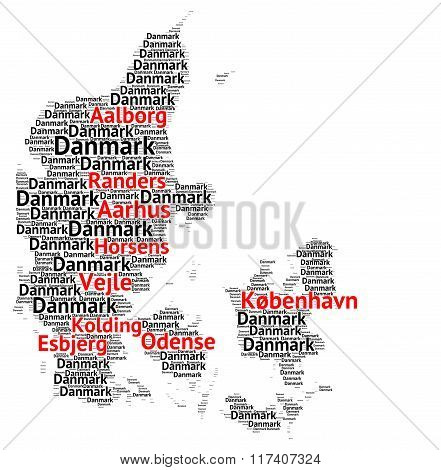 Map of Denmark with the biggest cities