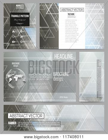 Set of business templates for presentation, brochure, flyer or booklet. Abstract blurred vector back