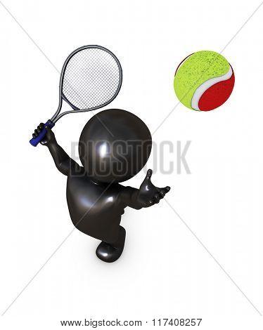 3D Render of Morph Man Playing Tennis