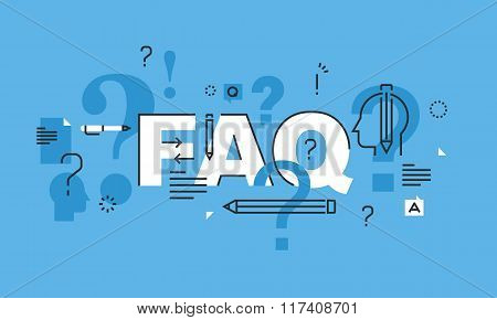 Thin line flat design word banner for FAQ web page