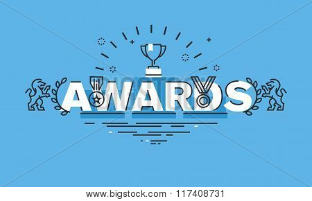 Thin line flat design word banner for awards web page