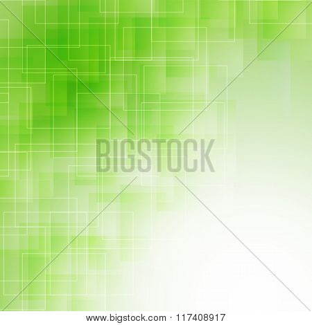 abstract green icy background with transparent lines and squares. vector