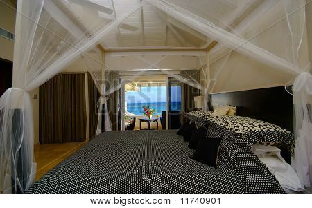 luxury bedroom with sea view