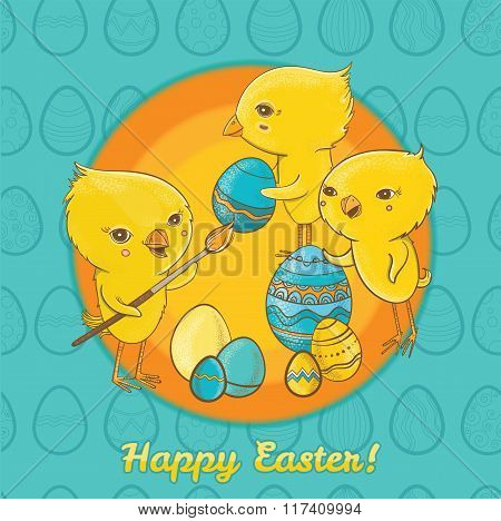 Easter Postcard With Cute Chicks