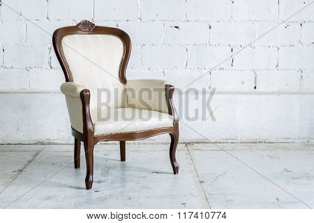 White Vintage classical farbric style Chair