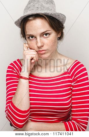Woman Portrait In Hat Hipster In Stripes Red Clothes Happy Beautiful