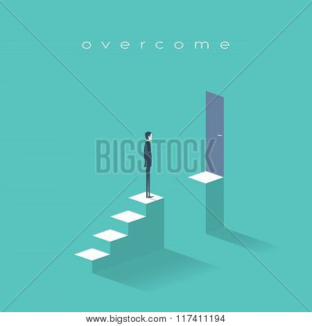Business challenge concept with man standing on stairs. Goal or target behind obstacle.