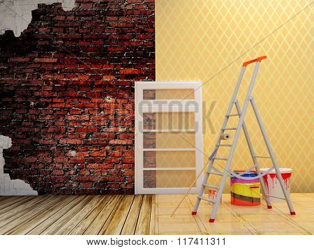 Building tools on a background of wall repair.
