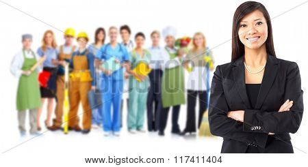 Asian business woman and workers group.