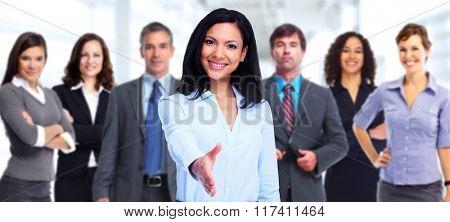 Asian business woman handshake.