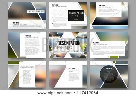 Vector templates for presentation slides. Abstract multicolored background of blurred nature landsca