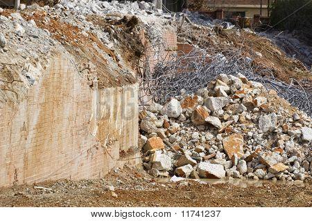 Pile Of Metal Rebar & Concrete Rubble