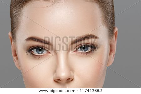 Woman Eyes Nose Face Close-up Studio.