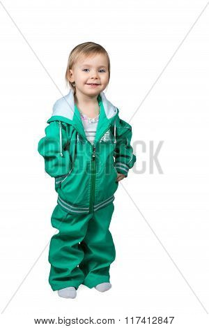 Small Child In A Large Sports Suit