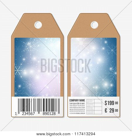 Vector tags design on both sides, cardboard sale labels with barcode. Blue abstract winter backgroun