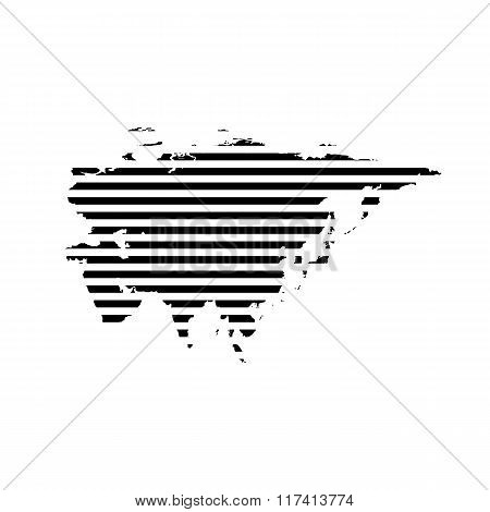 Black linear symbol of eurasia map on white, vector illustration