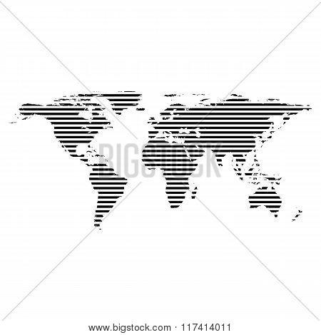 Black linear symbol of world map on white, vector illustration