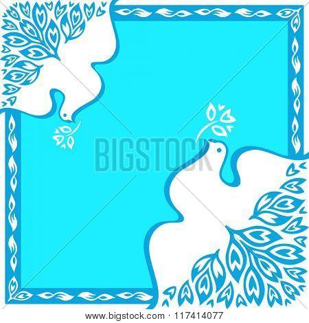 Royal blue peace birds floral square ornament
