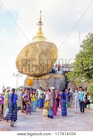 BAGO, MYANMAR - November 17, 2015: Kyaiktiyo Pagoda, Mon State, Myanmar (Burma)
