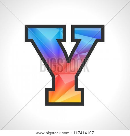 Vector Geometric Gradient Design Triangular Polygonal Font. Children style Letter Y