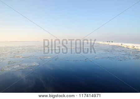 View of calm Baltic sea in winter