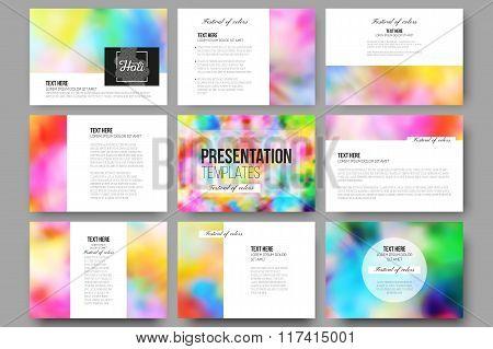 Set of 9 templates for presentation slides. Colorful background, Holi celebration, vector illustrati