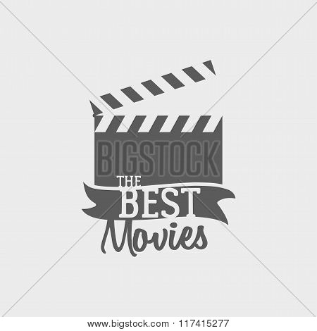 Vector Slate Board For Shooting Movies.  Label Or Logo Concept. Poster Element