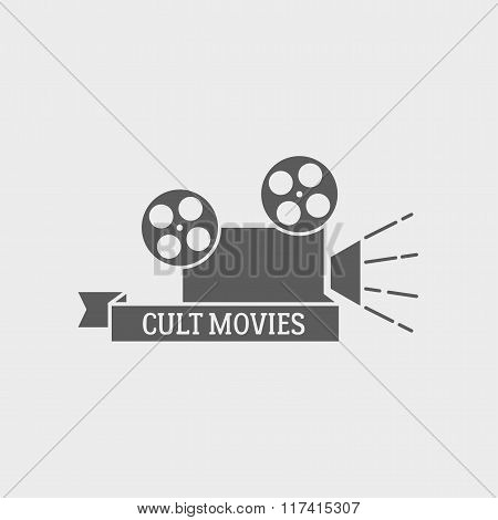 Movie Theater Vector Logo, Badge Or Label Design Template With Film Camera And Cult Movies Title.