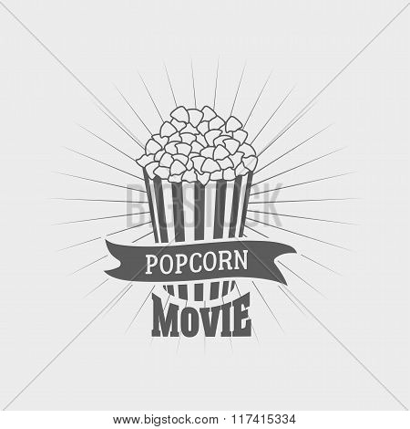 Popcorn Movie Logo Design Popcorn Bucket. Vector Illustration