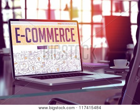 E-Commerce - Concept on Laptop Screen.