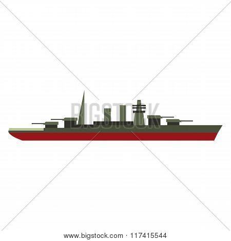 Warship flat icon