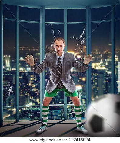 Businessman-goalkeeper