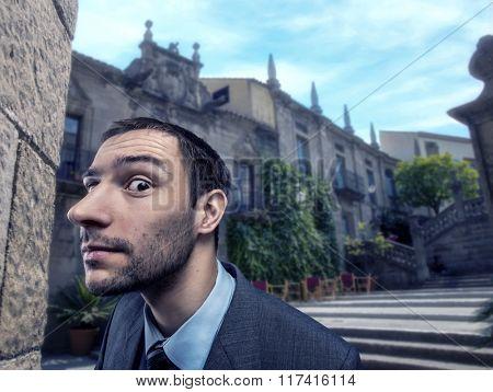 Curious businessman