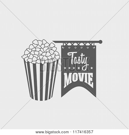 Vector Design Concept Of Logo, Label Or Badge With Popcorn Bucket. Can Be Used For Design Posters, F