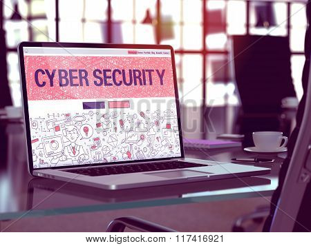 Cyber Security Concept on Laptop Screen.