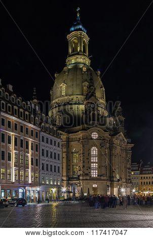 Dresden Frauenkirche At Night, Germany