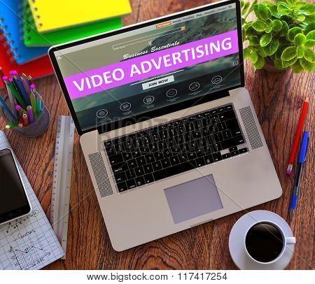 Video Advertising Concept on Modern Laptop Screen.