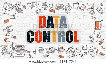 Data Control in Multicolor. Doodle Design.