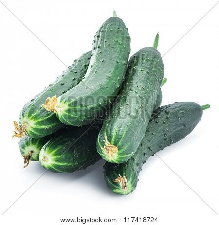 Cucumbers on the white background.