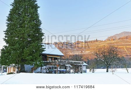 Landscape On Snowy Countryside In Switzerland In Winter