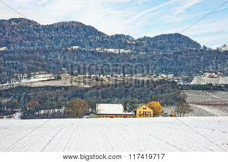 Landscape On Countryside In Switzerland In Snowy Winter
