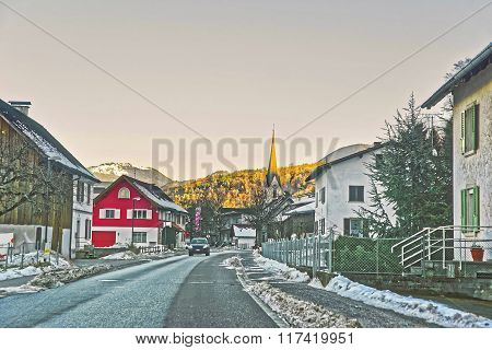 Road View And Town In Switzerland In Winter
