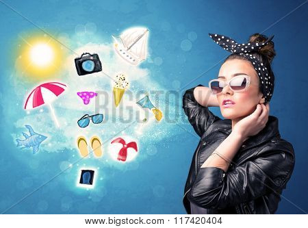 Happy joyful woman with sunglasses looking at summer icons and symbols concept