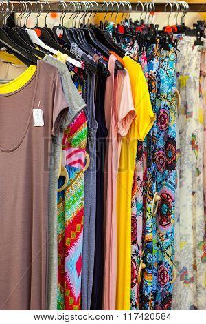 Summer Female Dresses At A Store. Closeup Shot
