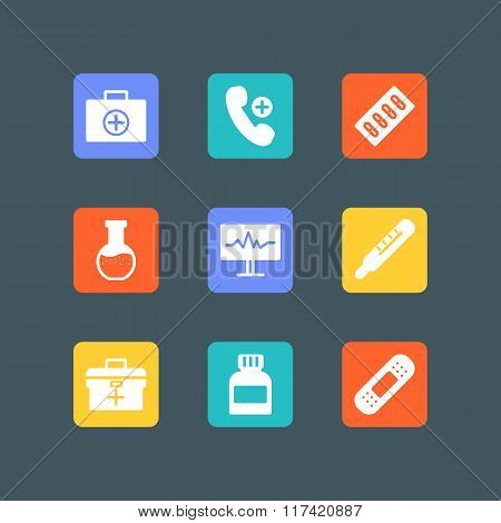 Set Of White Medical Icons.