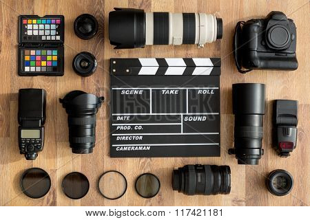 professional of cameras and camera lens top view