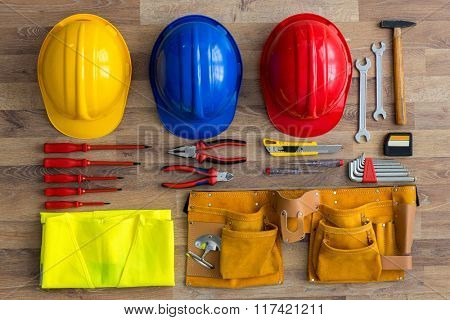 top view work tools on wood background