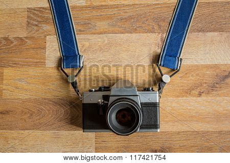 top view photo of professional retro camera