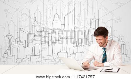 Businessman sitting at the white table with hand drawn buildings in the background