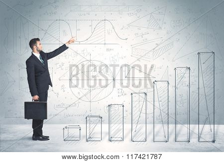 Business man climbing up on hand drawn graphs concept on background